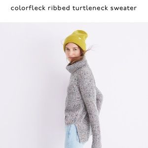 Madewell Color fleck ribbed turtleneck sweater